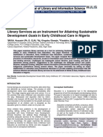 Library Services as an Instrument for Attaining Sustainable Development Goals in Early Childhood Care in Nigeria