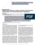 Nuclear Track Detection of Radon Activities among Branded Bottled Water and Locally Bottled Water in Afghanistan