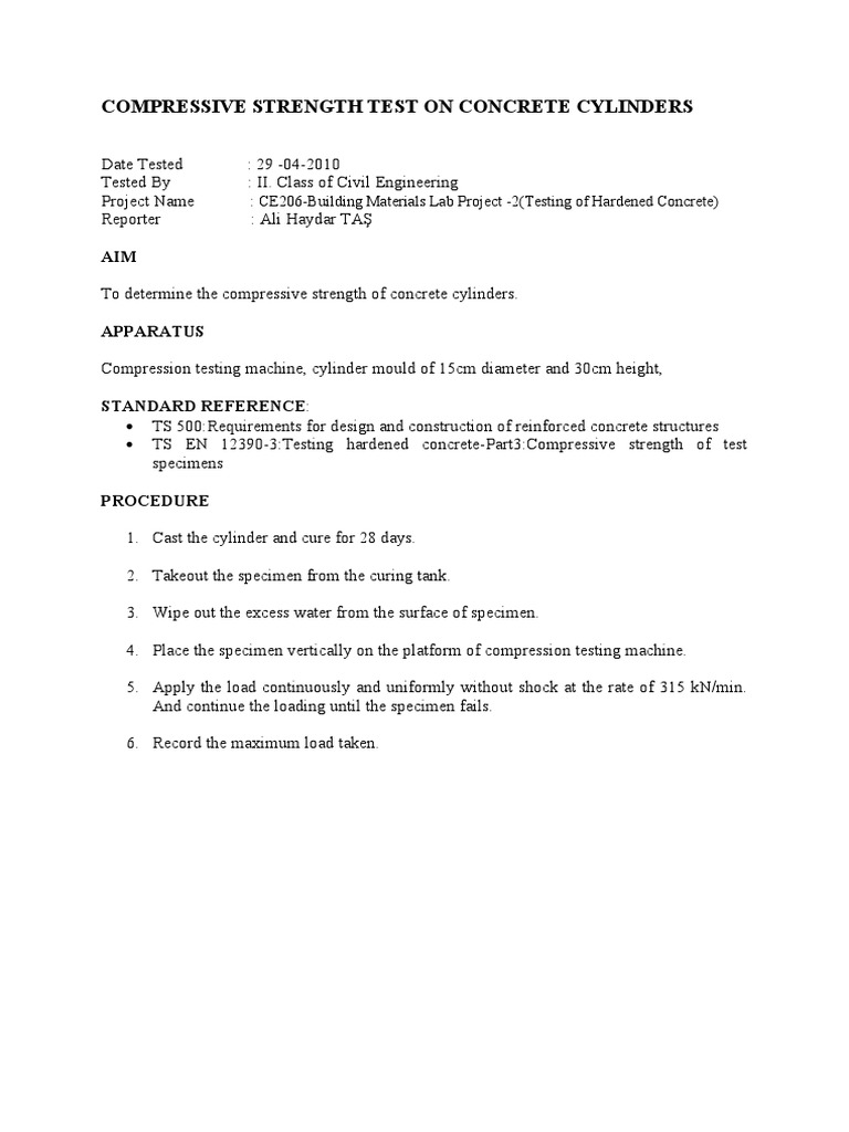 Compressive Strength Test On Concrete Cylinders