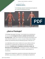 Fisiología_ Concepto, Clasificación y Características