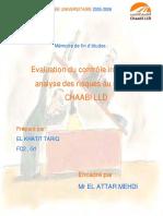 Analyse Des Risques Et Du Contrôle Interne Au Sein de CHAABI LLD