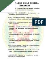 DECALOGO DE LA POLICÍA NACIONAL