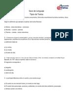 Guía de Lenguaje - Tipos de Textos