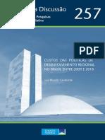 Custos das Políticas de Desenvolvimento Regional no Brasil entre 2009 e 2018