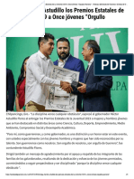 """04-12-2019 Entrega Héctor Astudillo los Premios Estatales de la Juventud 2019 a Once jóvenes """"Orgullo Guerrero""""."""