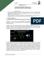 ELECTRONICA practica 7 amplificador base comun colector comun