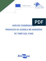 Análise econômica da produção de acerola no municipio de tome açu para