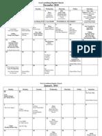 Calendar December and Jan