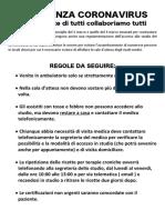 Emergenza Coronavirus, manifesto