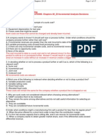 Managerial Accounting Sample Multiple Choice Questions