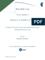 Unidad 2. Transformaciones lineales, matrices y sistemas de ecuaciones