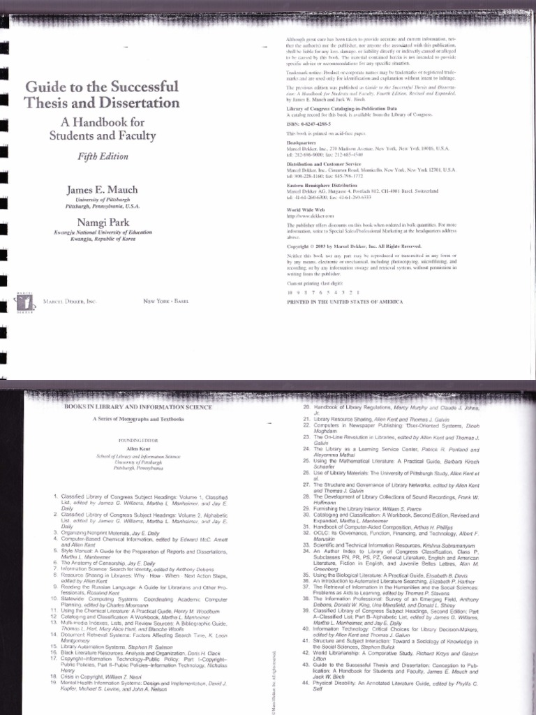 Guide to successful thesis and dissertation