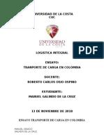 ENSAYO TRANPORTE DE CARGA EN COLOMBIA MANUEL GALINDO  DE LA CRUZ