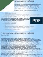 EXPLOATAREA INSTALATIILOR DE ÎNCALZIRE I