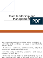 Team leadership and Management