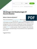 advantages and disadvantages of decentralization