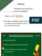 simplifying expressions recap yr 8