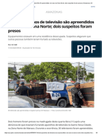 Trinta aparelhos de televisão são apreendidos em casa na Zona Norte; dois suspeitos foram presos _ Amazonas _ G1