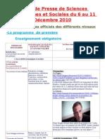 Revue de presse de TES  du 6 au 11 décembre 2010