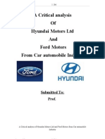 44586726 Car Automobile Industry a Critical Analysis of Hyundai Motors Ltd and Ford Motors From Car Automobile Industry Thesis 116p