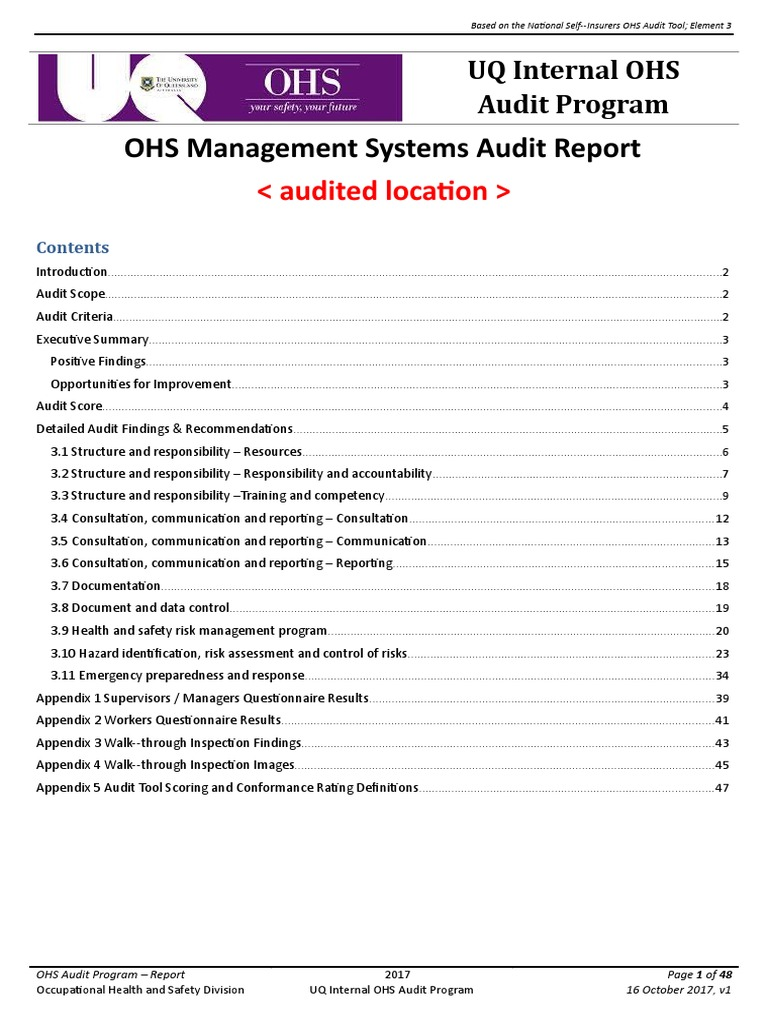 Audit Report Template 21  Occupational Safety And Health  Risk Pertaining To Ohs Monthly Report Template