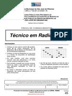 Fsadu - 2011 -Prova de Tec. em  Radiologia - Sao Jose de Ribamar