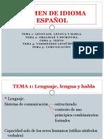 EXAMEN DE IDIOMA ESPAÑOL