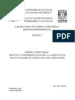 PRÁCTICA 5 DETERMINACION DE LA ACIDEZ TOTAL EN UN VINAGRE (CUANTITATIVA DE ACIDO-BASE)