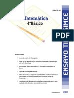 Ensayo3 Simce Matematica 4basico 2013