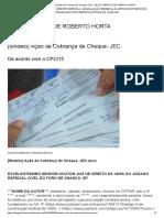 [Modelo] Ação de Cobrança de Cheque- JEC – BLOG JURÍDICO DE ROBERTO HORTA