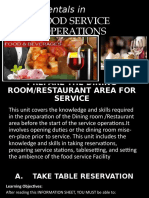 FUNDAMENTALS IN FOOD SERVICE OPERATION