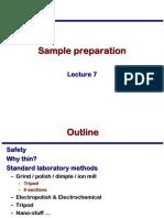 Transmission Electron Microscopy Skills:Sample preparation Lecture 7
