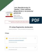 """Notas de """" Lean Manufacturing En Español, Cómo eliminar desperdicios e incrementar ganancias """""""
