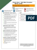 Lathe Machine Safety Operating Procedure