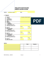 Testing and Commissioning domestic water checklist