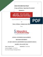 Summer Internship report at Future Generali Insurance LTD
