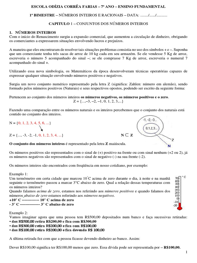 7º Ano 1º Bimestre Pdf Fracao Matematica Numero Racional