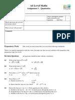 AS Assignment 3 - Quadratics