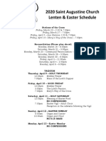 2020 Lenten Easter Schedule