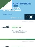 Plan de contingencia del Distrito para respuesta al coronavirus