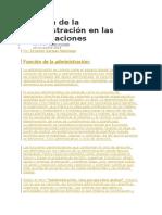 Función de la administración en las organizaciones
