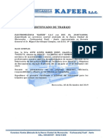 CERTIFICADO DE TRABAJO KAFFER