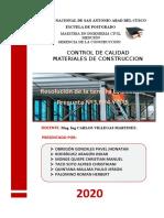 CONTROL DE CALIDAD MATERIALES DE CONSTRUCCION