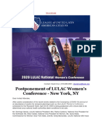Postponement of LULAC Womens Conference - New York NY