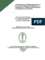 DESARROLLO DEL APRENDIZAJE AUTÓNOMO MEDIANTE LA  IMPLEMENTACIÓN DE PLATAFORMAS M-LEARNING EN LA  LICENCIATURA EN INFORMÁTICA Y MEDIOS AUDIOVISUALES  DE LA UNIVERSIDAD DE CÓRDOBA