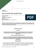 Decreto 248 de 2016 Alcalde Mayor