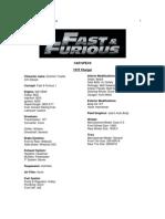 Fast & Furious Car Specs