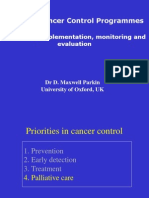 National Cancer Control Programmes - Planning, Implementation, Monitoring and Evaluation