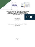 Economic Administrativ Posta Programa Titularizare 2011