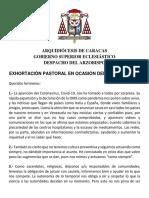Exhoratación Del Cardenal Porras Coronavirus, 12 Marzo 2020
